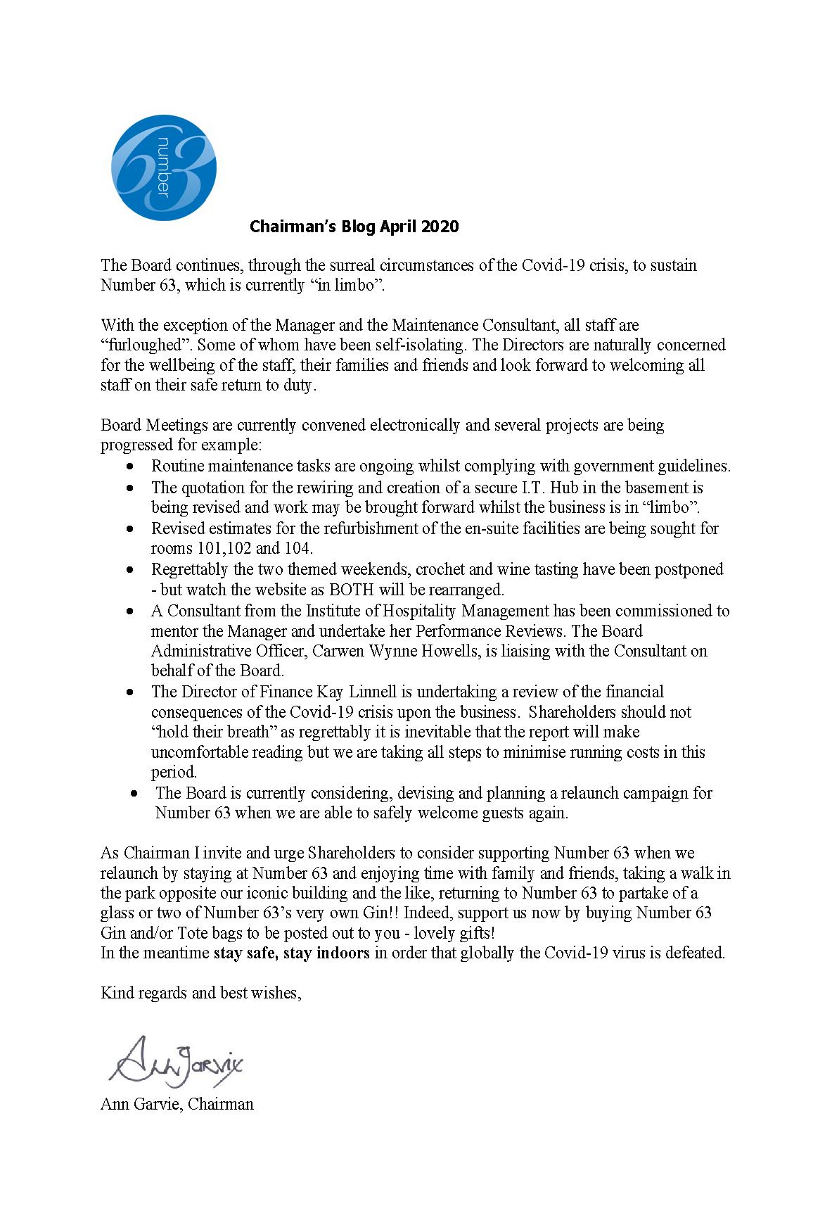 Chairman's Blog April 2020
