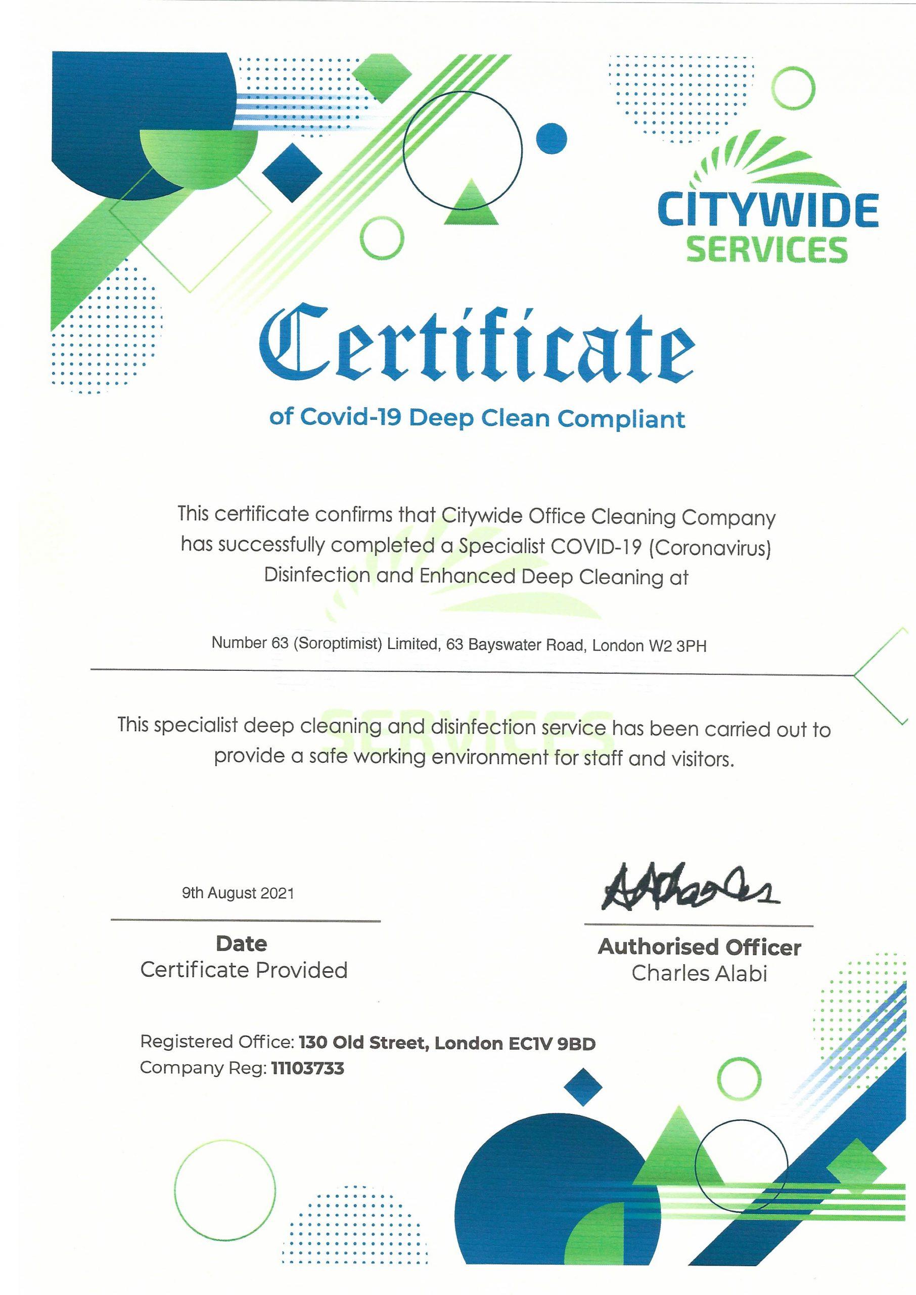 Deep Clean Certificate