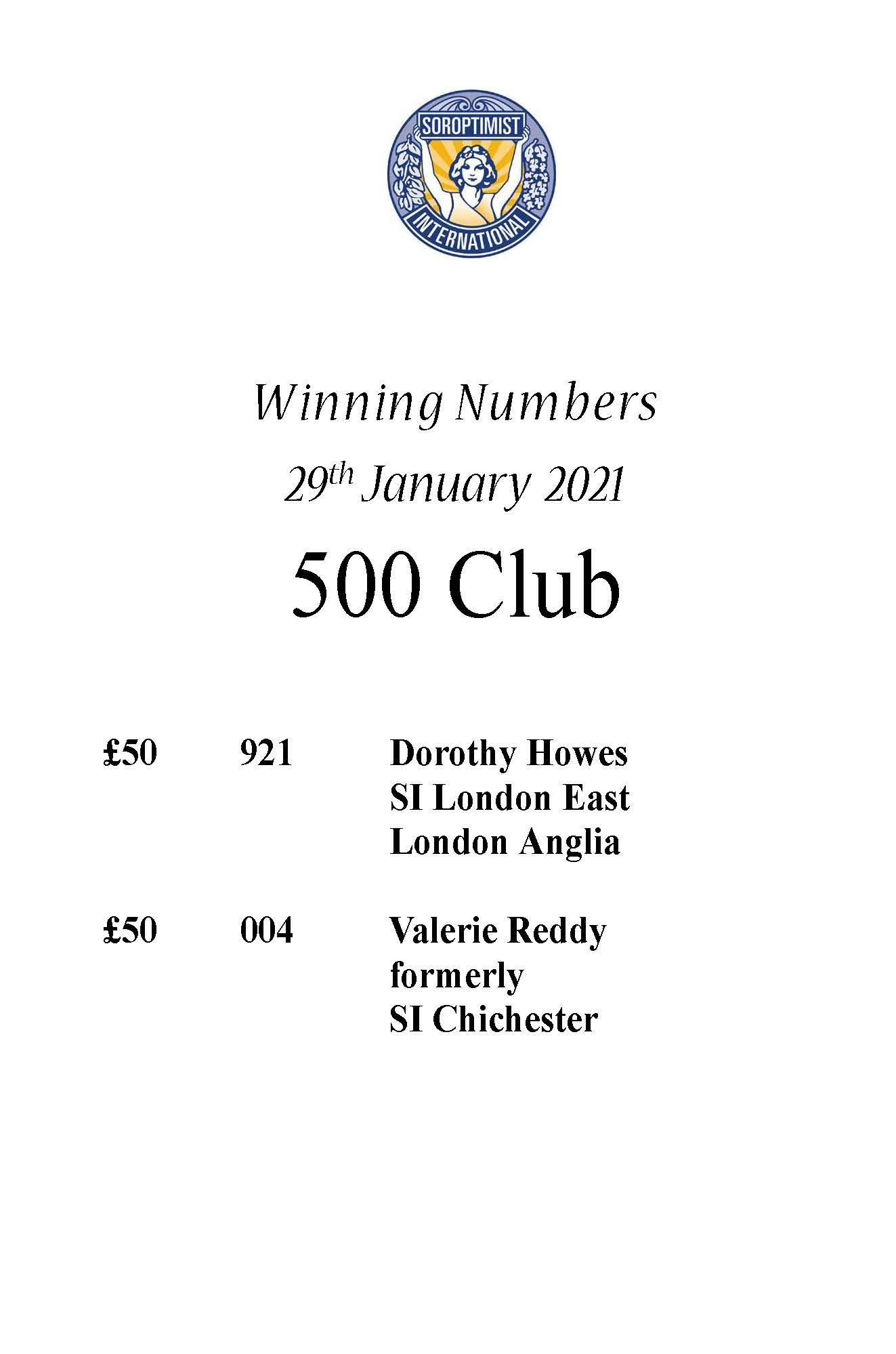 500 Club January 2021